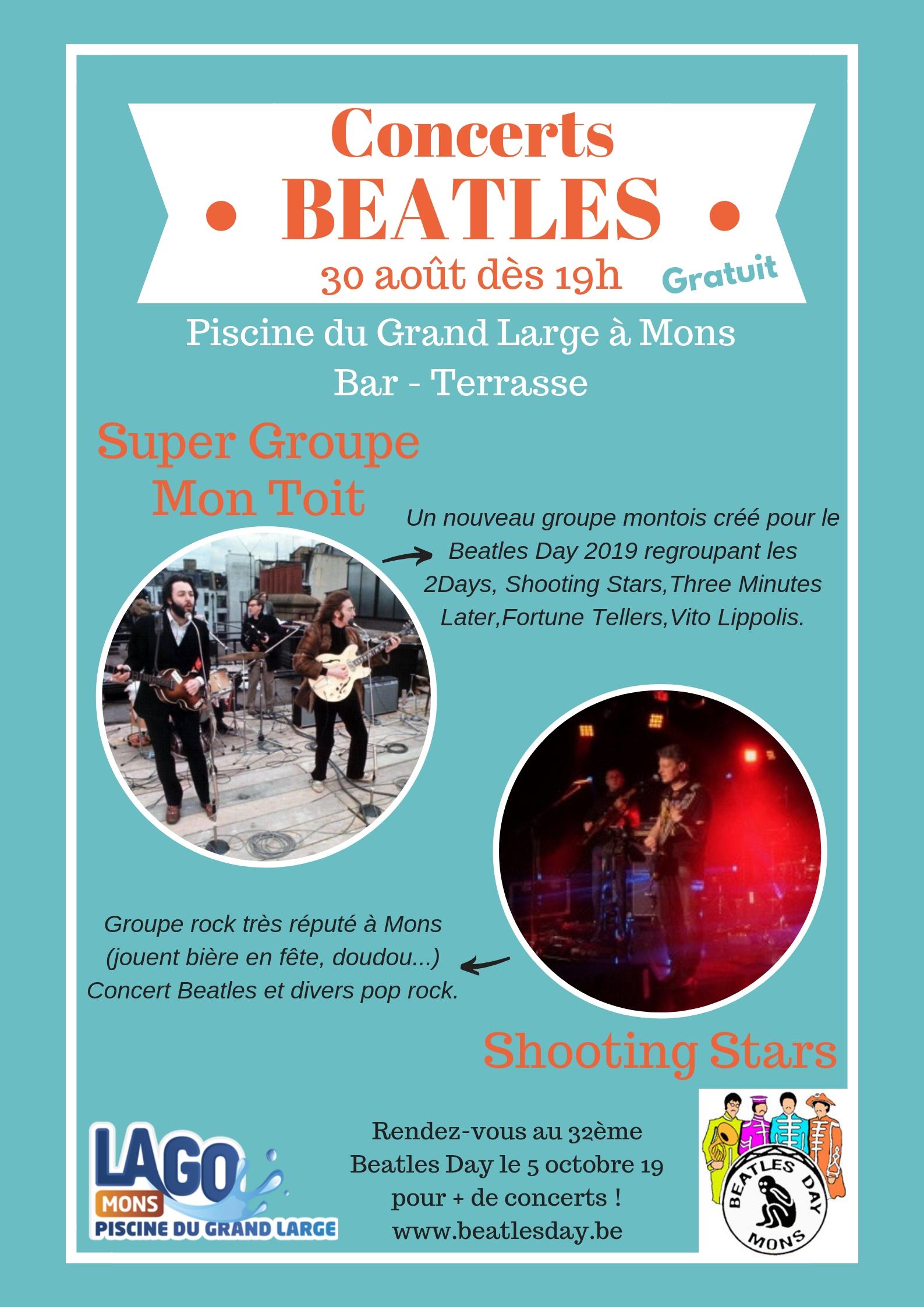 Concerts Pré-Beatles Day gratuit à la piscine du Grand Large vendredi 30 août 2019 19h